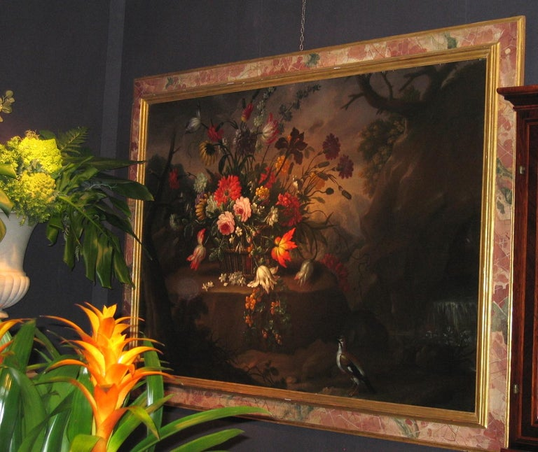 Pair of Exceptional Italian Still Life  Paintings of Flowers  18th century For Sale 5
