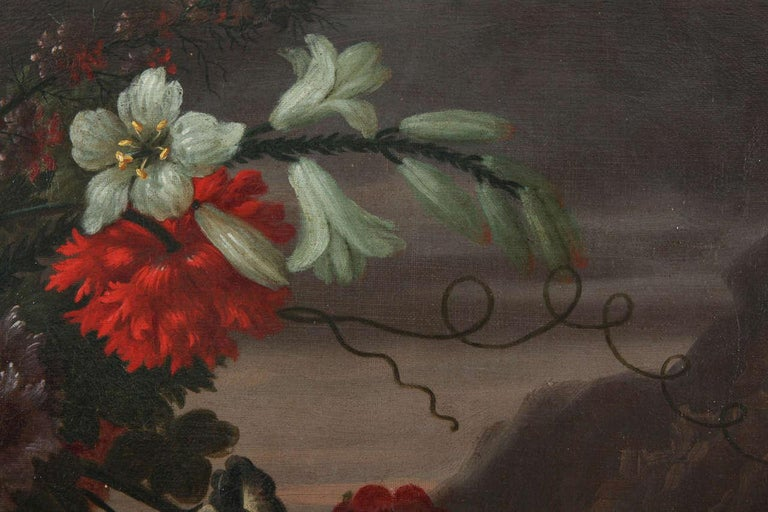 Pair of Exceptional Italian Still Life  Paintings of Flowers  18th century For Sale 6