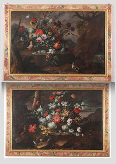 Pair of Exceptional Italian Still Life  Paintings of Flowers  18th century