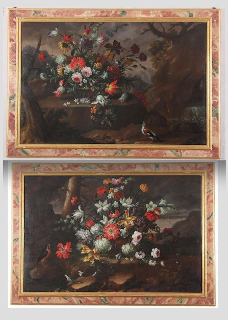 Anna Caterina Gilli Figurative Painting - Pair of Exceptional Italian Still Life  Paintings of Flowers  18th century