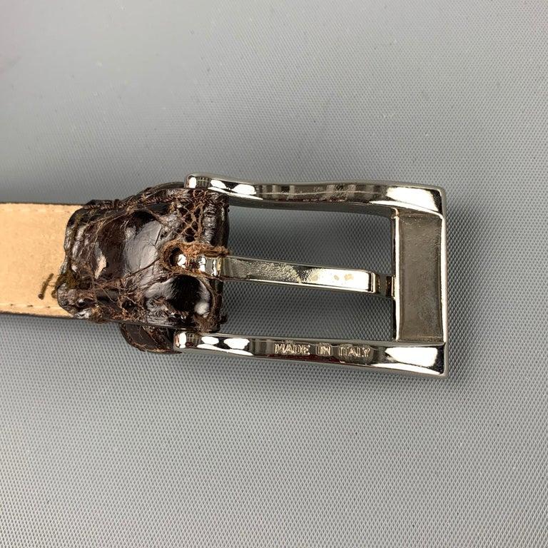 ANNA FIRENZE Size S Olive Alligator Skinny Belt For Sale 1