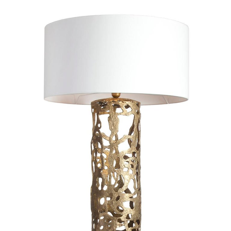 Floor lamp Anna with all base in solid forged bronze. With shade Included. Exceptional piece.