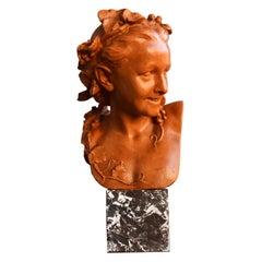 """Anna Foucart"" 19th Century Terracotta Bust by Jean-Baptiste Carpeaux"