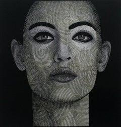 No. 2.2 - XXI Century, Contemporary Linocut Print, Portrait, Black and White
