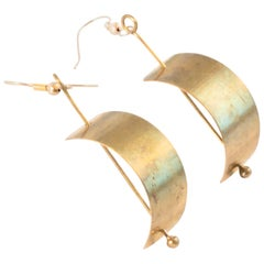 Anna Greta Eker Norway 1970s Brass Modernist Earrings