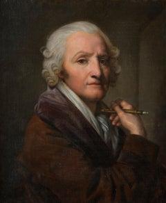 Portrait of Jean-Baptiste Greuze, Painting on Linen by his Daughter Anna Greuze