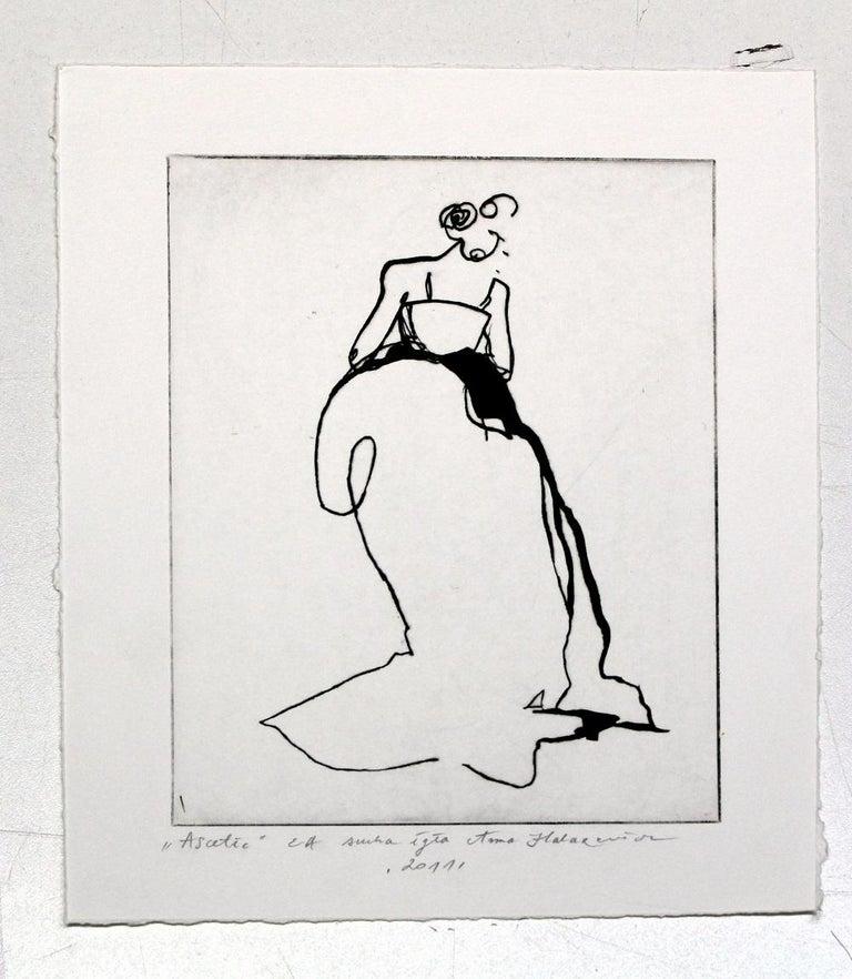 Ascetic - 21 Century, Etching, Fashion Print, Women, Minimalist - Gray Figurative Print by Anna Halarewicz