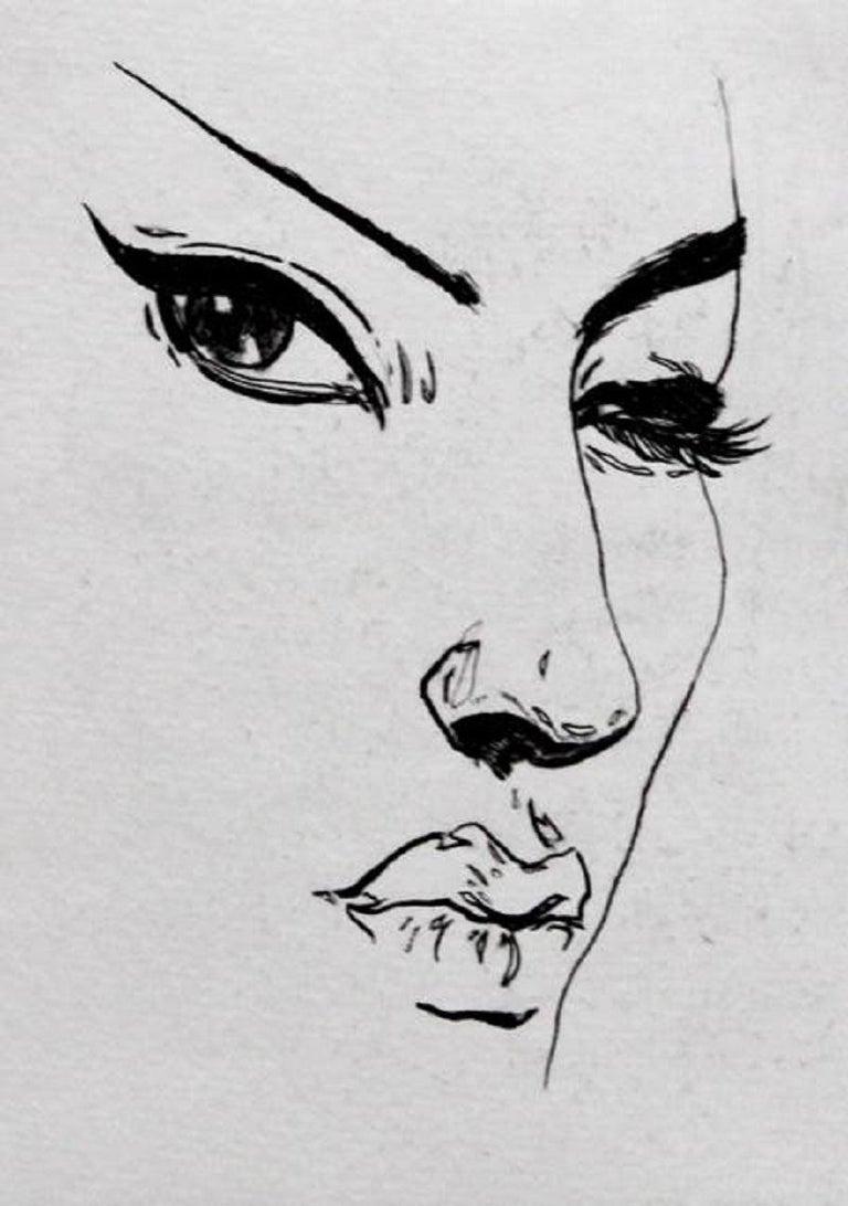 Anna Halarewicz Figurative Print - Face - XXI Century, Etching, Fashion Print, Women, Minimalistic