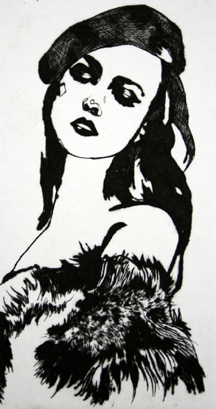 La Par Tisante - XXI Century, Contemporary Etching, Fashion Print, Women