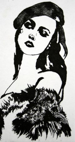 La Par Tisante - XXI Century, Contemporary Etching, Fashion Print, Women