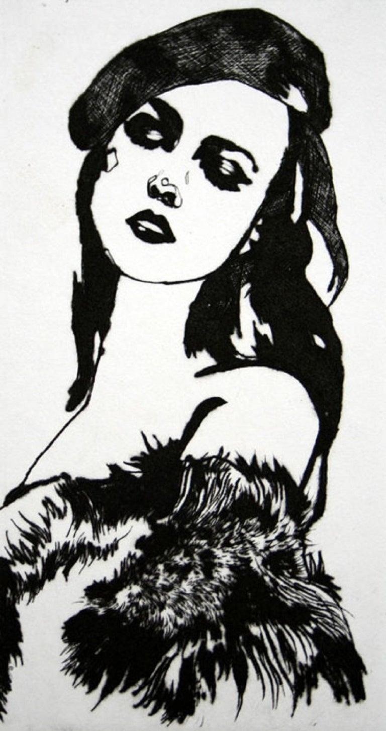 Anna Halarewicz Figurative Print - La Par Tisante - XXI Century, Contemporary Etching, Fashion Print, Women