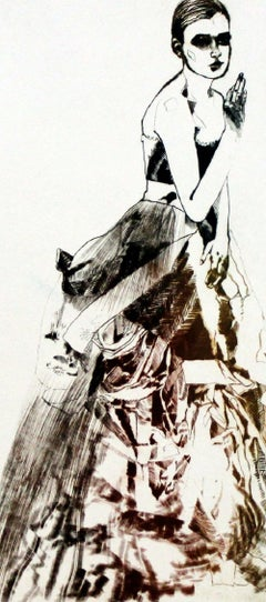 Mirror - XXI Century, Contemporary Etching, Fashion Print, Women