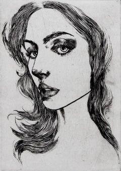 Self-portrait  - XXI Century, Etching, Fashion Print, Female portrait