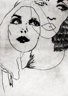 Self-portrait  - XXI Century, Etching, Fashion Print, Women