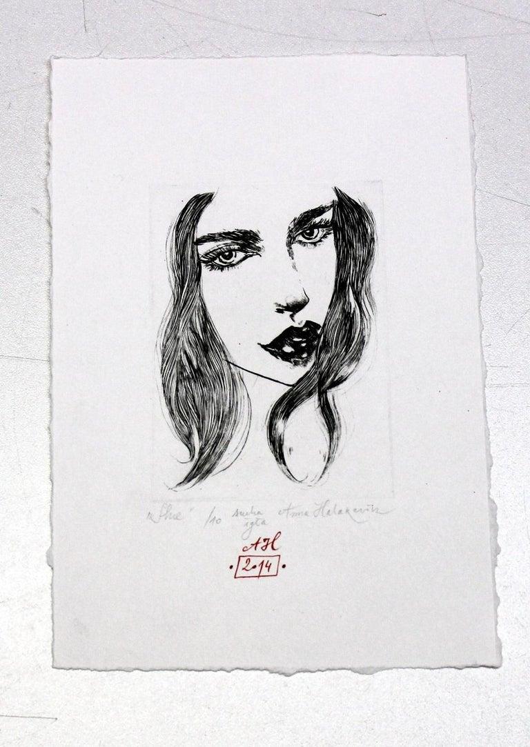 She - XXI Century, Etching, Fashion Print, Women - Gray Figurative Print by Anna Halarewicz