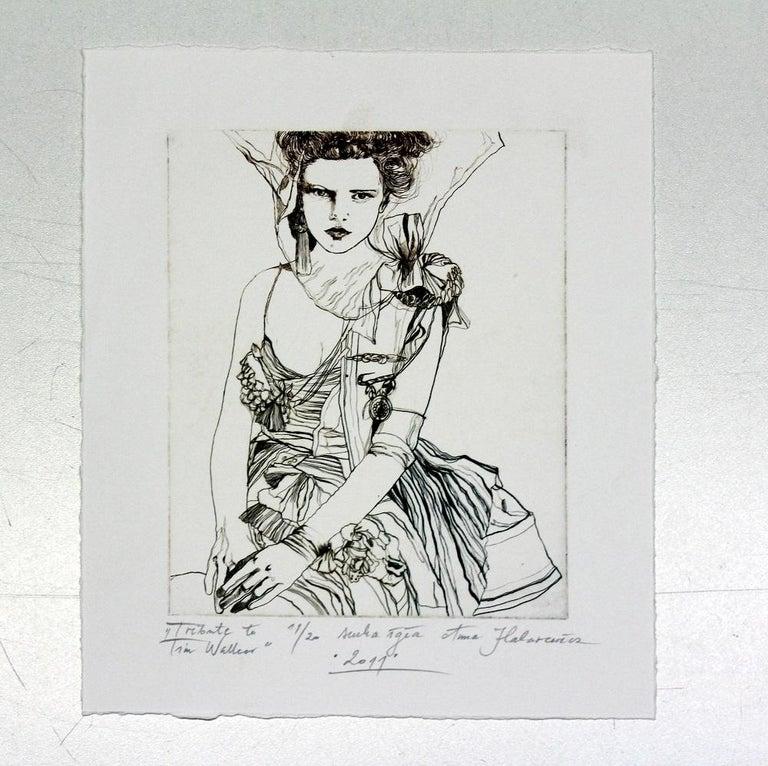 Tribute to Tim Walker - XXI Century, Contemporary Etching, Fashion Print, Women - Gray Figurative Print by Anna Halarewicz