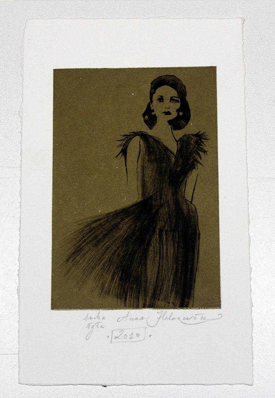 Untitled - XXI Century, Etching, Fashion Print, Women, Monochromatic - Brown Figurative Print by Anna Halarewicz