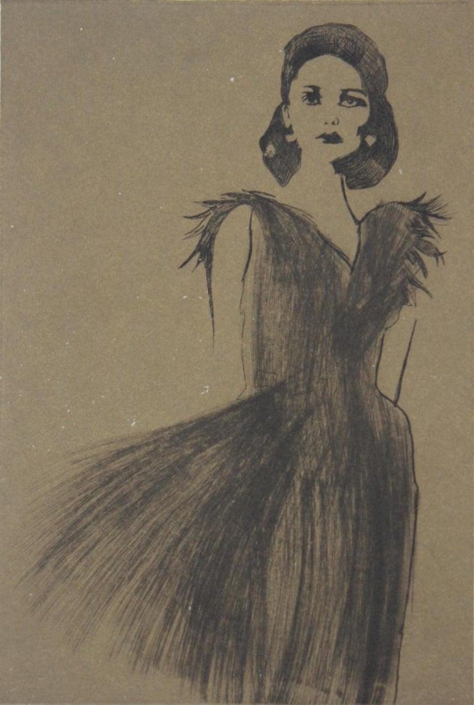 Anna Halarewicz Figurative Print - Untitled - XXI Century, Etching, Fashion Print, Women, Monochromatic