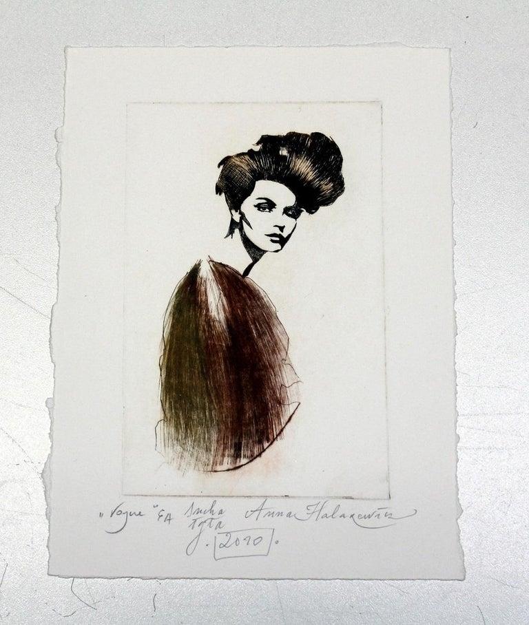 Vogue - XXI Century, Etching, Fashion Print, Women, Portrait - Gray Figurative Print by Anna Halarewicz
