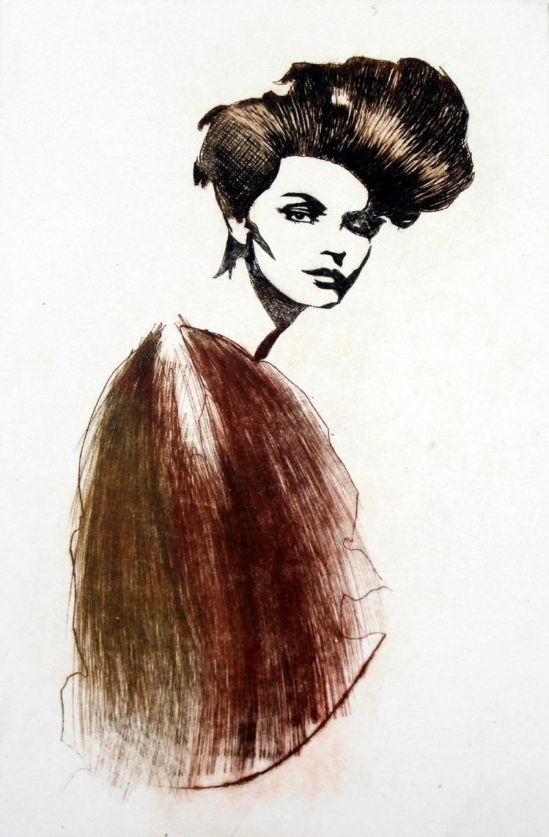 Vogue - XXI Century, Etching, Fashion Print, Women, Portrait