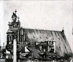 Warsaw - XXI Century, Contemporary Etching, City Print, Landscape