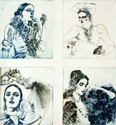 Women - XXI Century, Contemporary Etching, Fashion Print, Women
