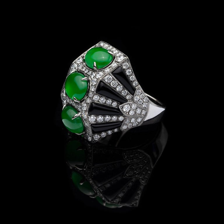 Anna Hu Jade, Onyx and Diamond Ring In Excellent Condition For Sale In San Francisco, CA