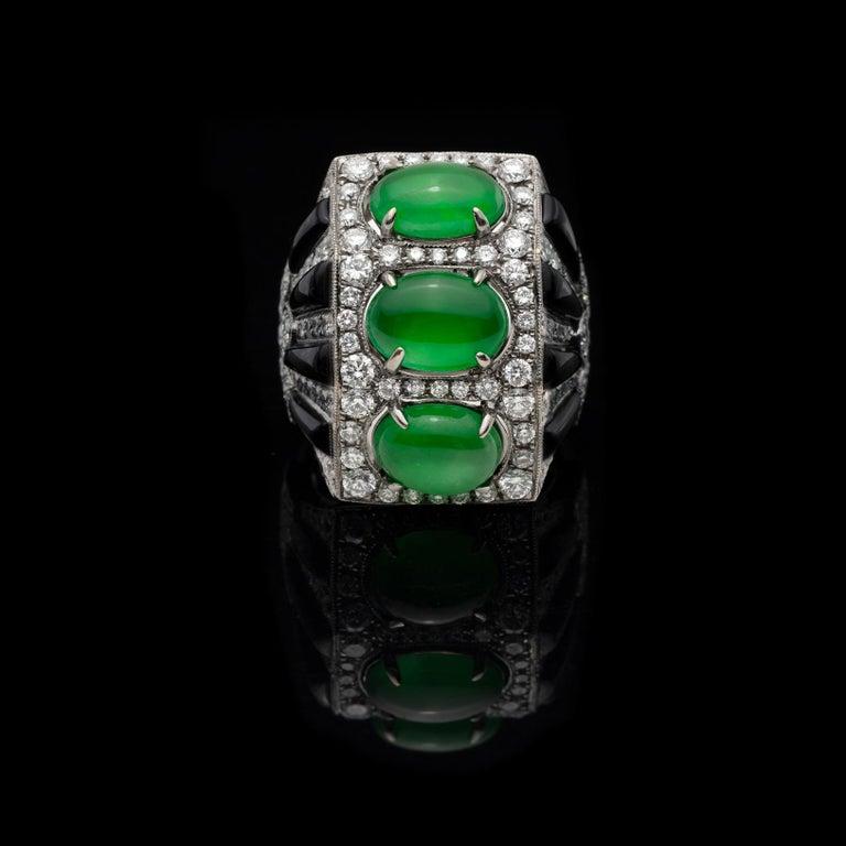 Women's Anna Hu Jade, Onyx and Diamond Ring For Sale