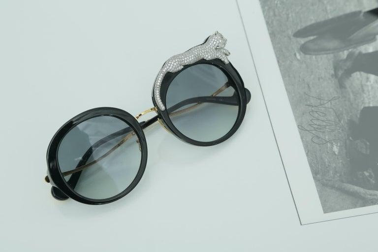 Anna-Karin Karlsson Rose et la Roue Round Crystal-Embellished Leopard Sunglasses For Sale 1
