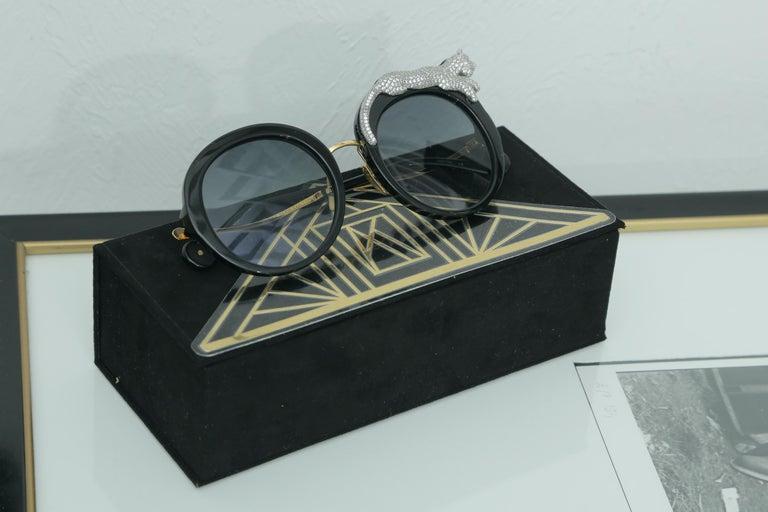 Anna-Karin Karlsson Rose et la Roue Round Crystal-Embellished Leopard Sunglasses For Sale 2
