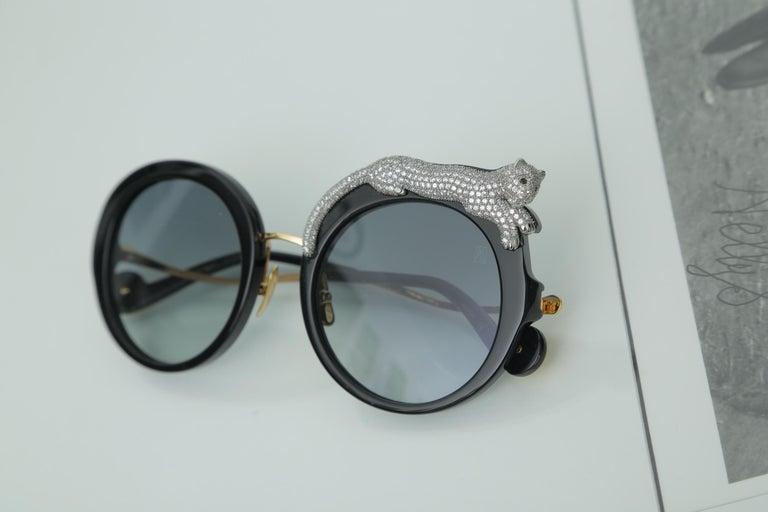Anna-Karin Karlsson Rose et la Roue Round Crystal-Embellished Leopard Sunglasses For Sale 3