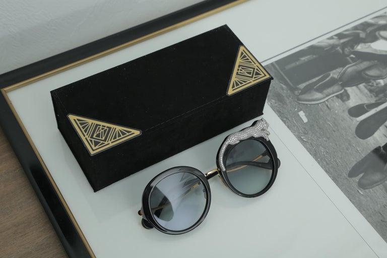 Anna-Karin Karlsson Rose et la Roue Round Crystal-Embellished Leopard Sunglasses For Sale 5