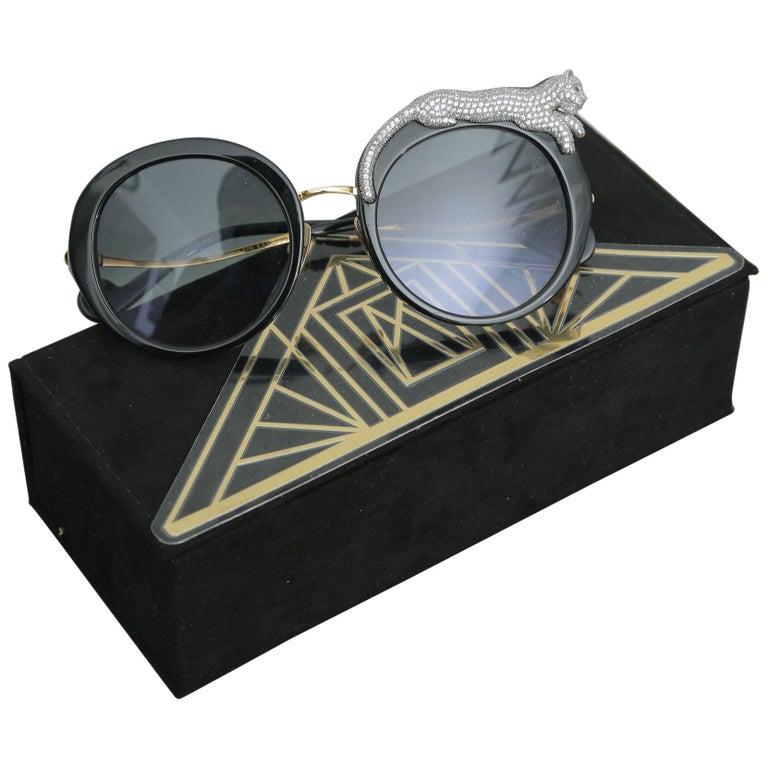 Anna-Karin Karlsson Rose et la Roue Round Crystal-Embellished Leopard Sunglasses For Sale