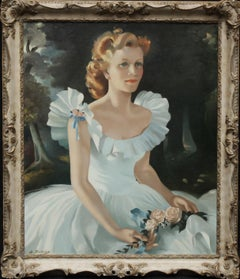 Portrait of Alice Robinson - American Kentucky Colonel Red Cross award 50's oil