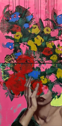 Beautiful to Strangers-Diptych, Oil + Canvas, Figurative/Female Portrait-Florals