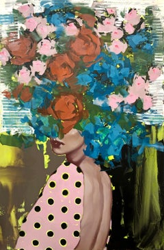 Free Spirit, Figurative, Oil on Canvas, (Female Portrait + Abstract Florals)