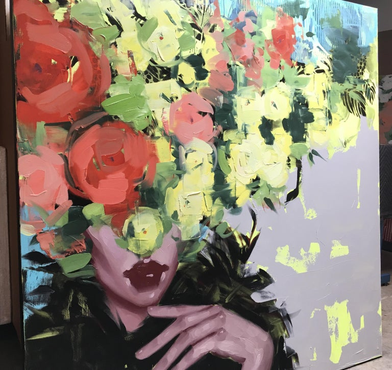 Give Me Something to Dream About, Anna Kincaide (Figurative, Portrait, florals) - Contemporary Painting by Anna Kincaide