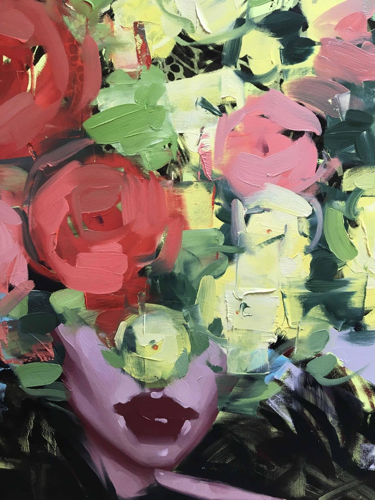 ANNA KINCAIDE Give Me Something to Dream About  Oil on Canvas 60 x 60 inches  Communicating emotion and narrative with limited assistance from her figure's facial expressions, Anna Kincaide creates cascades of flowers that cover her subjects to