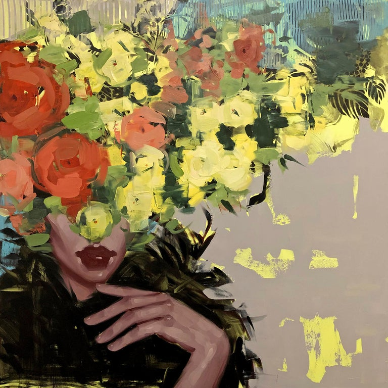 Give Me Something to Dream About, Anna Kincaide (Figurative, Portrait, florals) - Painting by Anna Kincaide