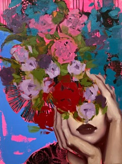 How Much I Feel, Anna Kincaide, Oil + Canvas, Figurative/Female Portrait-Florals