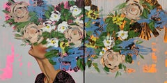 Imagination Diptych 2021_Anna Kincaide, Oil/Canvas_Figurative + Abstract Florals