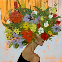 Lofty Dreams_Figurative, Oil on Canvas, (Female Portrait + Abstract Florals)