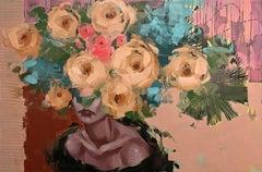 Love Games, Anna Kincaide, Figurative Female Portrait w. Abstract Flowers-Peach