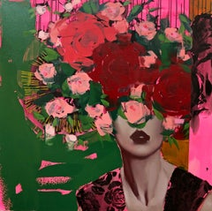Roses Are Red, Anna Kincaide, Oil on Canvas, Figurative/Female Portrait-Floral