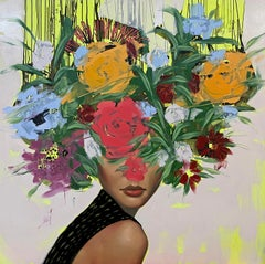 Wallflower, 2021_Figurative, Oil on Canvas, (Female Portrait + Abstract Florals)