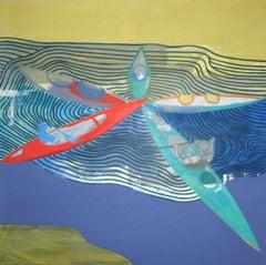 Lake with Kayaks - Modern Landscape Painting, Abstract, Lake View, Joyful, Water