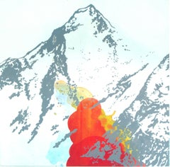 Montains (Gasherbrum) - Modern, Contemporary, Landscape Painting, Red Montains