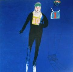 Relay - Modern Landscape Figurative Painting, Joyful, Cobalt Blue, Skier, Winter