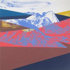 Road - Modern Landscape and Mountains Painting, Abstract, Joyful, Colorful