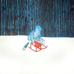 Sledge - Contemporary Figurative Landscape Painting, Snow, Winter, Forest, Blue